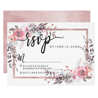 Blush & Rose Gold Framed Wedding RSVP Response Card