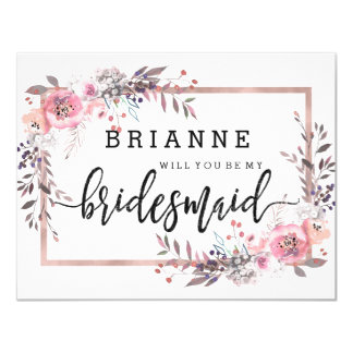 Blush & Rose Gold Framed Will You Be My Bridesmaid Card