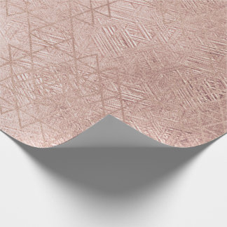 Blush Rose Gold Glass Hexagon Geometry Lines Wrapping Paper