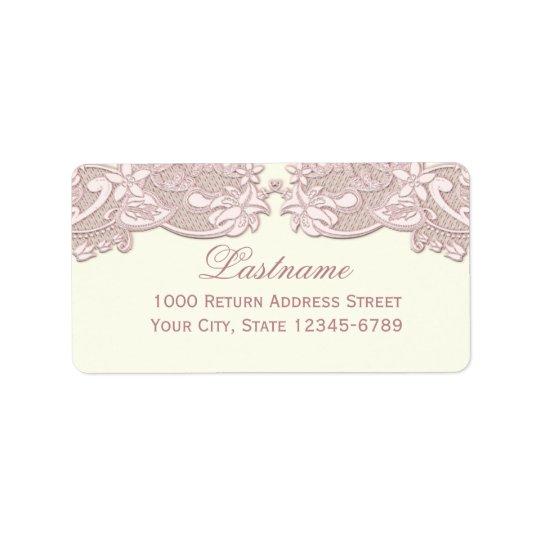 Blush Rose Pink Floral Lace Vintage Design Address Label
