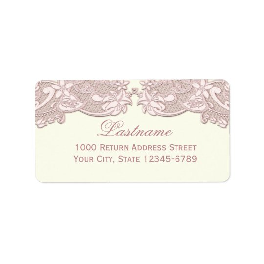 Blush Rose Pink Floral Lace Vintage Design Label