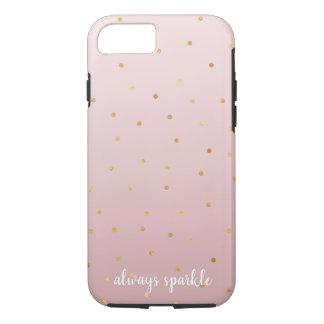 Blush Rose Pink Ombre Gold Confetti Sparkle iPhone 8/7 Case