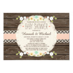 BLUSH RUSTIC FLORAL BOHO COUPLES BABY SHOWER 13 CM X 18 CM INVITATION CARD