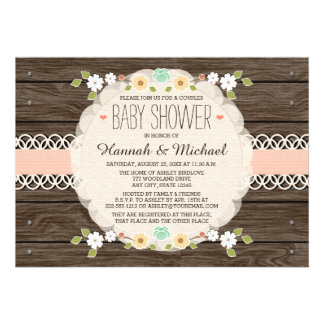 BLUSH RUSTIC FLORAL BOHO COUPLES BABY SHOWER CARDS