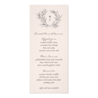 Blush Rustic Monogram Wreath Weddin Reception Menu 10 Cm X 24 Cm Invitation Card