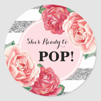 Blush Silver Pink Floral Baby Shower Ready to Pop Classic Round Sticker