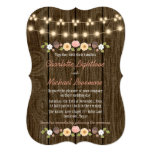 Blush String of Lights Fall Rustic Acorn Wedding 13 Cm X 18 Cm Invitation Card
