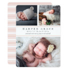Blush Stripe   Photo Collage Birth Announcement