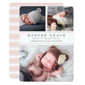 Blush Stripe | Photo Collage Birth Announcement