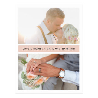 Blush Stripe | Wedding Photo Thank You Postcard