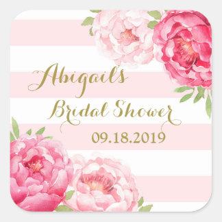 Blush Stripes Pink Floral Bridal Shower Favor Tag Square Sticker