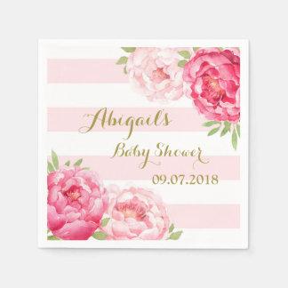 Blush Stripes Pink Watercolor Baby Shower Napkins Paper Napkin