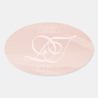 Blush Strokes Oval Envelope Stickers