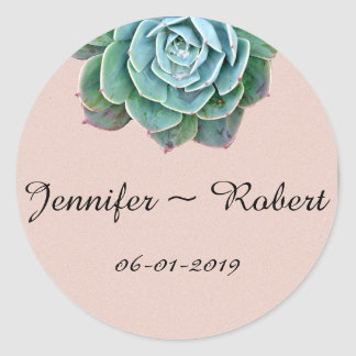Blush Succulent Wedding Envelope Seals Round Sticker