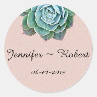 Blush Succulent Wedding Envelope Seals Round Sticker