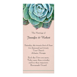 Blush Succulent Wedding Program Rack Card