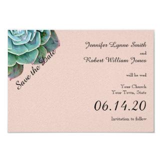Blush Succulent Wedding Save the Date 9 Cm X 13 Cm Invitation Card