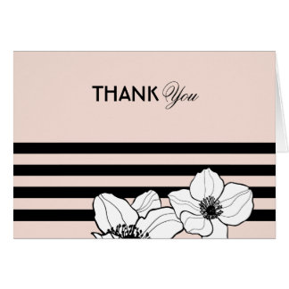 Blush Thank You | Floral Stripes Card