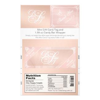 Blush Theme Candy Bar Wrapper & Gift Card/Tag 14 Cm X 21.5 Cm Flyer