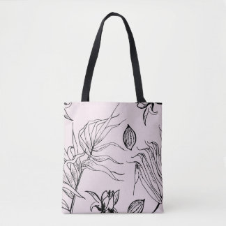 Blush Tote with Black Wildflower Print
