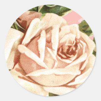 Blush Vintage Rose Wedding Classic Round Sticker