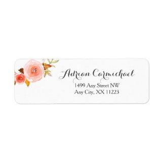 Blush Watercolor Floral wedding bridal shower Return Address Label