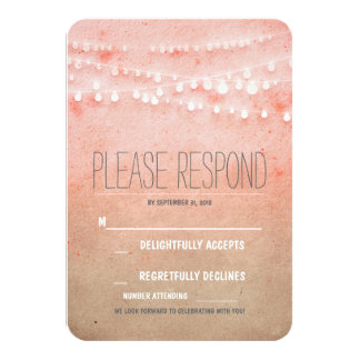 Blush watercolors string of lights wedding RSVP Card