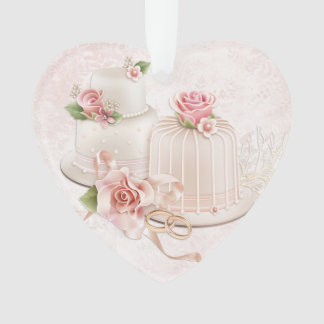 Blush Wedding Cakes with Roses, Bridal Shower Ornament