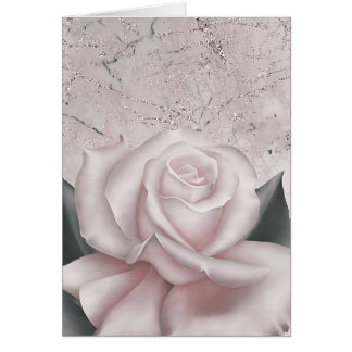 Blush White Rose Glam Modern Marble Shabby Chic Card