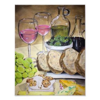 Blush Wine and Cheese Print Photographic Print