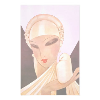 Blushing Bride Vintage Art Deco Illustration Customized Stationery