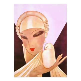 "Blushing Bride Vintage Art Deco Illustration 4.5"" X 6.25"" Invitation Card"