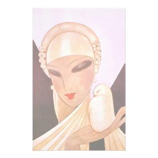 Blushing Bride Vintage Art Deco Illustration Stationery Paper