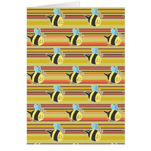 Blushing Bumblebee Striped Pattern Cards