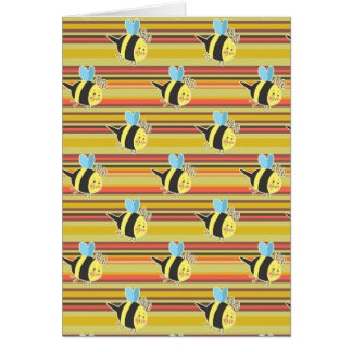 Blushing Bumblebee Striped Pattern Greeting Card
