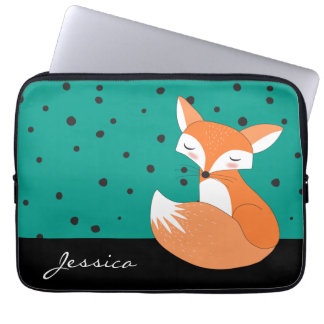 Blushing Fox with Custom Name Laptop Sleeve