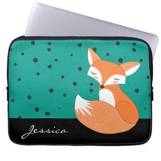 Blushing Fox with Custom Name Laptop Sleeves