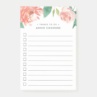Blushing Peony | Personalized To Do List Post-it Notes