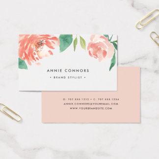Blushing Peony | Watercolor Floral Business Card
