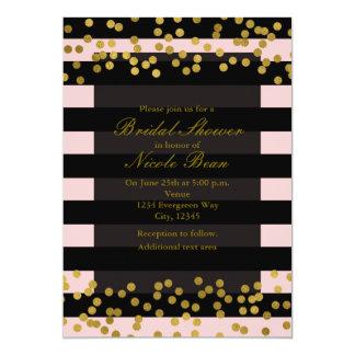 Blushing Pink & Black Stripes Gold Faux Foil Dots Card