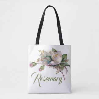 Blushing Pink & White Roses Monogram Name #2 Tote Bag