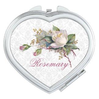 Blushing Pink & White Roses Monogram Name Travel Mirrors