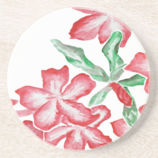 Blushing Red Flowers Drink Coaster