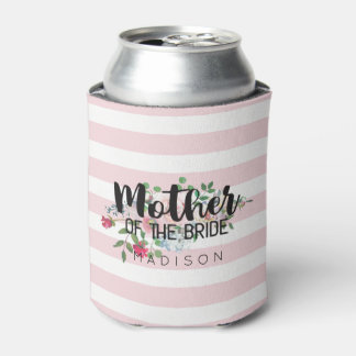 Blushing Rose Floral Wedding Mother of the Bride Can Cooler