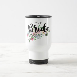 Blushing Rose Watercolor Floral Wedding Bride Travel Mug