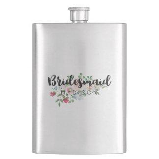 Blushing Rose Watercolor Floral Wedding Bridesmaid Flask