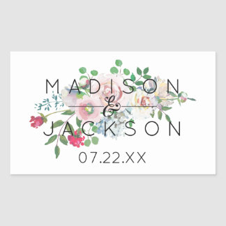 Blushing Rose Watercolor Floral Wedding Monogram Rectangular Sticker
