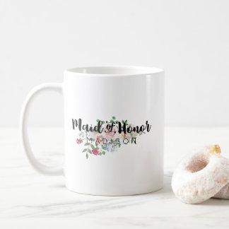 Blushing Rose Watercolor Wedding Maid of Honor Coffee Mug