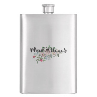 Blushing Rose Watercolor Wedding Maid of Honor Hip Flask