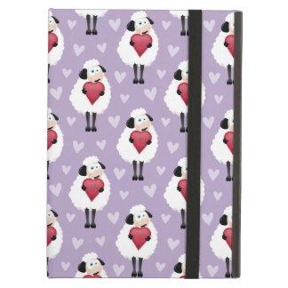 Blushing Sheep & Purple Hearts Pattern Case For iPad Air